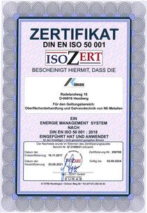 Zertifikat nach DIN EN ISO 50001 der OFB Oberflächenbearbeitung Kimax GmbH