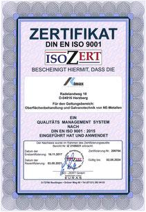 Zertifikat nach DIN EN ISO 9001:2015 der OFB Oberflächenbearbeitung Kimax GmbH