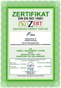 Zertifikat nach DIN EN ISO 14001:2015 der OFB Oberflächenbearbeitung Kimax GmbH