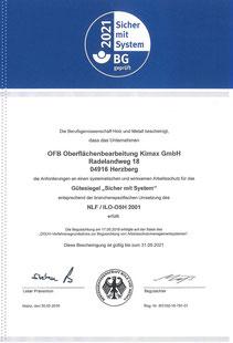 """Bescheinigung des Gütesiegels """"Sicher mit System"""" der OFB Oberflächenbearbeitung Kimax GmbH"""