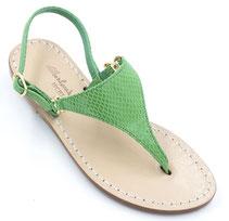 sandali verdi artigianali in cuoio
