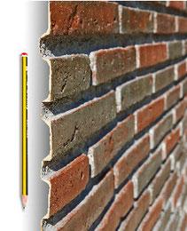 Materialstärke - Steinpaneel M-008 Ziegel Alt kombiniert
