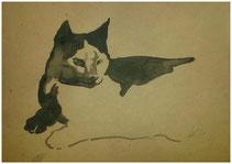 Katze, Tusche auf Papier