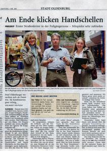"""Zeitungsartikel der NWZ vom 28.08.2006: """"Am Ende klicken Handschellen"""" -  Quelle: """"Nordwest-Zeitung, Oldenburg"""""""