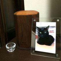 ペットの木製骨壷 F様邸 ネロ君(黒猫)