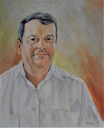 Peter Albach Selbstporträt Öl auf Leinwand