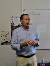 Experienced teacher and TEFL trainer Shaun Fitzhenry teaching a TEFL course.