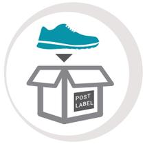 Trockene, verpackte Schuhe bei der Post abgeben