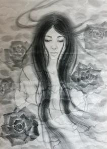 「アニバーサリー」 水墨画  310×570mm