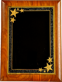 "9""x12"" Genuine Walnut plaque with black and gold starburst plate"
