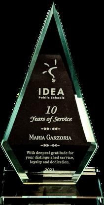 Years of Service Jade Glass Triangle