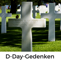 D-Day-Gedenkstätten in der Normandie mit Hundnd