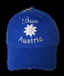 "Kinderkappe Edelweiß´""Bua"" ""Austria"" in royalblau"