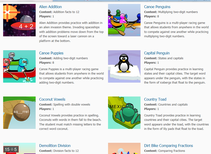 A huge variety of learning games at Arcademic Skill Builders