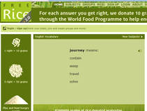 Improve your English skills and donate rice to those who need it at the same time!