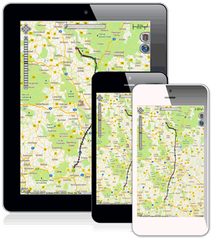 PKW-Ortung auf dem Smartphone, Tablet, Desktop, PC