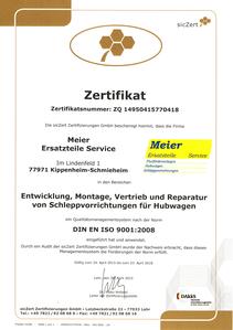 Zertifikat- Meier Ersatzteile Service 2015