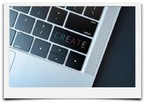 Bild mit Tastatur mit Wort CREATE mit Verlinkung in die Unterseite Grafik-Design.
