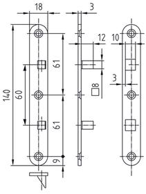 Türbandsicherung GLUTZ 1309, Plattengrösse 18x140 mm