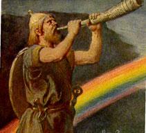 Heimdall mit Gjallarhorn und Bifröst. Gemälde von Emil Doepler (1855–1922), veröffentlicht 1905, gemeinfrei