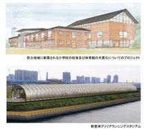 木造の校舎とスタジアム