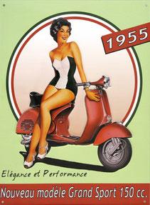 Pub Vespa avec pin-up 1955