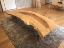 栃 一枚板 テーブル 広島