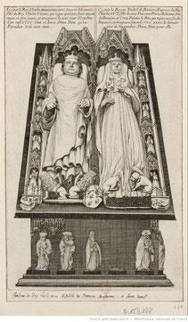 Gisant de Charles Vi et de son épouse. (Source : BNF, Gallica)