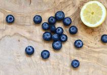 Heidelbeeren, Blaubeeren, Zitrone, Obst