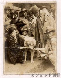 Fotografia real de l'Hachiko i els seus amics de l'estació
