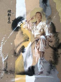 Портрет Шимабукуро Юкинобу Сэнсэя. Автор: Ф.О. Тамарский - Июль 2015 год.