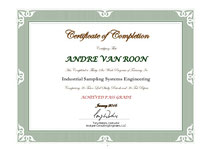 "Andre van Roon certified as ""Industrial Sampling Systems Engineer"" by Tony Waters"
