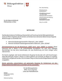 Mitteilung BD Wien (Faksimile)