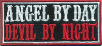 Angel by day, Devil by night patch, Racing Biker Heavy Metal Patch Aufnäher
