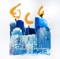 """Weihnachtskarte für Stiftung Sterschnuppe  """"Blue candles"""""""