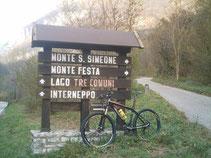 Ausgangspunkt MTB-Tour Monte S Simeone und Monte Festa