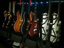 当日のギターラインナップ(エディのFBより拝借)。ライブでは手前の白のギターを使用。