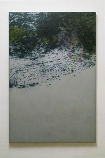 liquid landscape III 2003  Kunstharz. Steinmehl, Ölfarbe auf Leinwand  150 x 100 cm