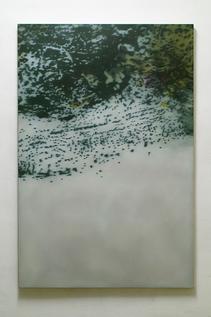 liquid landscape IV 2003 Kunstharz, Steinmehl, Ölfarbe auf Leinwand 150 x 100 cm Privatsammlung London