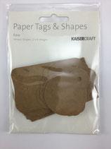 Papier Etiketten braun versch. Formen