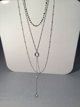 Triple Layer Chain with Crystal Y Drop Necklace - Silver