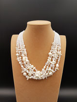 Collier, Collier Mi-Long, Perle de Culture d'eau douce, Nacre et Cristal