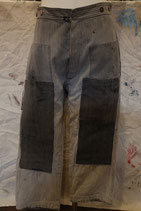 1930~40's  FRENCH  C.STRIPED WORK  TROUSERS  CLAZY  PATCHED