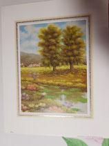 Pack 2 láminas PAISAJES con detalles oro  300 x 240 mm