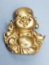 """Kühlschrankmagnet """"Lachender Buddha"""" (mit Schale) mit Spruchkarte"""