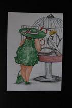 """Postkarte aus der Serie """"Die kleine Madame reist"""" Motiv 2"""