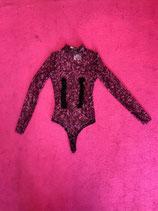 Mesh black and pink fringe turtleneck bodysuit