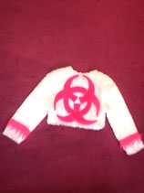 Pink and white fluffy biohazard jacket