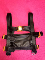 Chest rig vegan leather orange buckles
