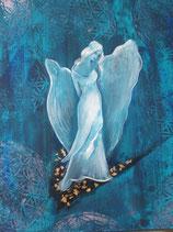 Göttin die das Mitgefühl verschenkt (blau)   (Leinwanddruck) 70 x 50 FREUDE- Angebot